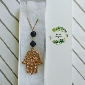 Hamsa Pendant Aroma Necklace